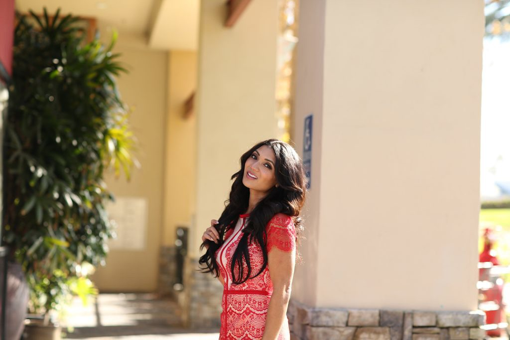 Debbie Savage of To Thine Own Style Be True featuring Missguided Red Lace Dress