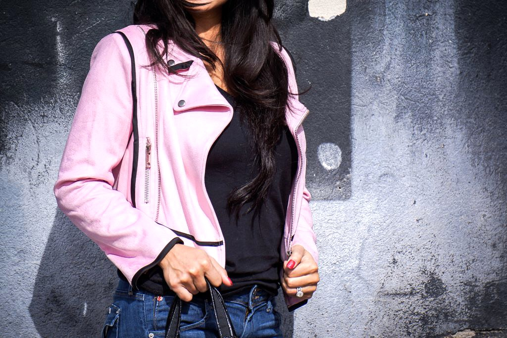 Debbie Savage of To Thine Own Style Be True Reviews StyleWe's Pink Zippered Cropped Moto Jacket