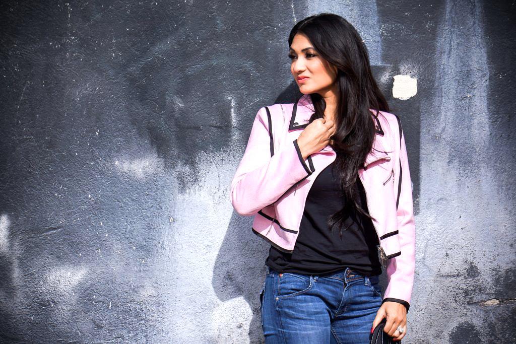 StyleWe Pink Zipper Crop Moto Jacket