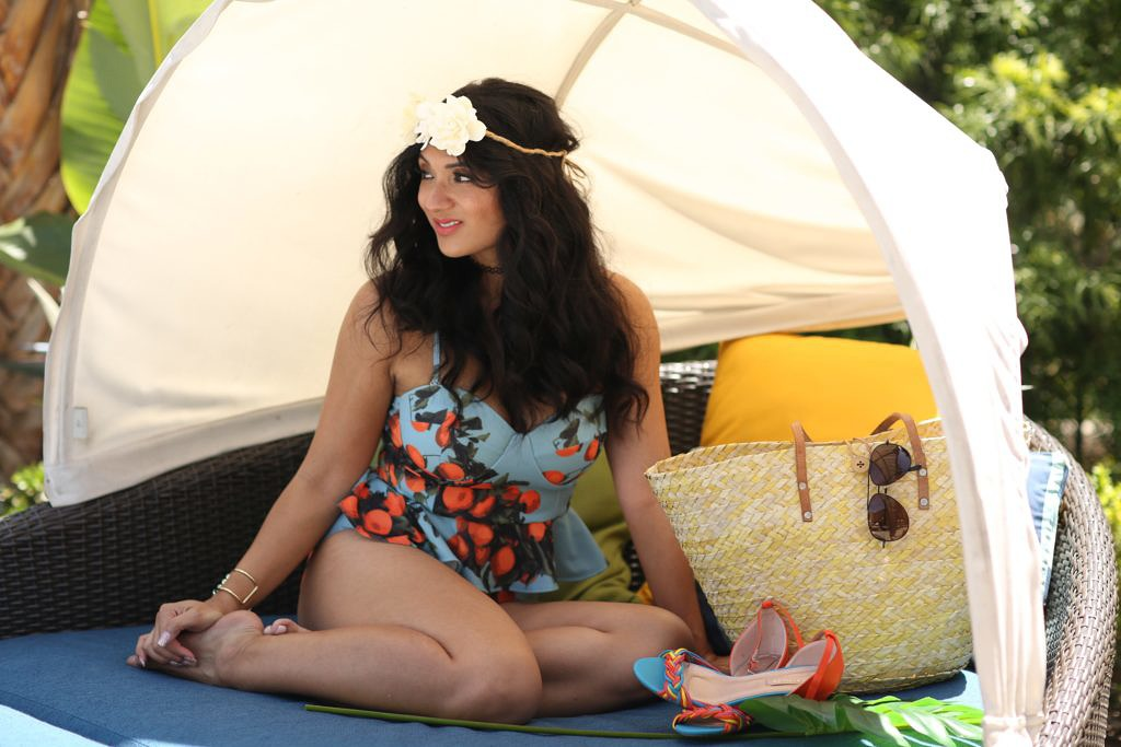 Debbie Savage of To Thine Own Style Be True Modeling Albion Fit's Clementine Tankini Swimsuit