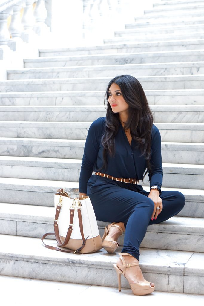 Strut Your Stuff in a Navy Blue Jumpsuit