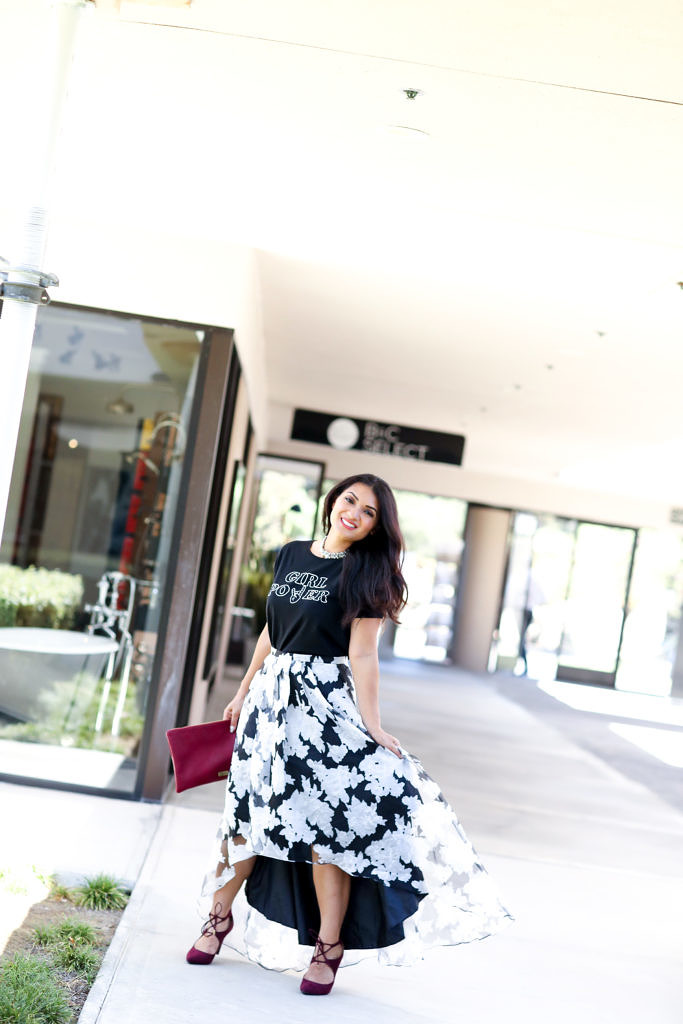 Printed T-Shirt and Floral Skirt Outfit