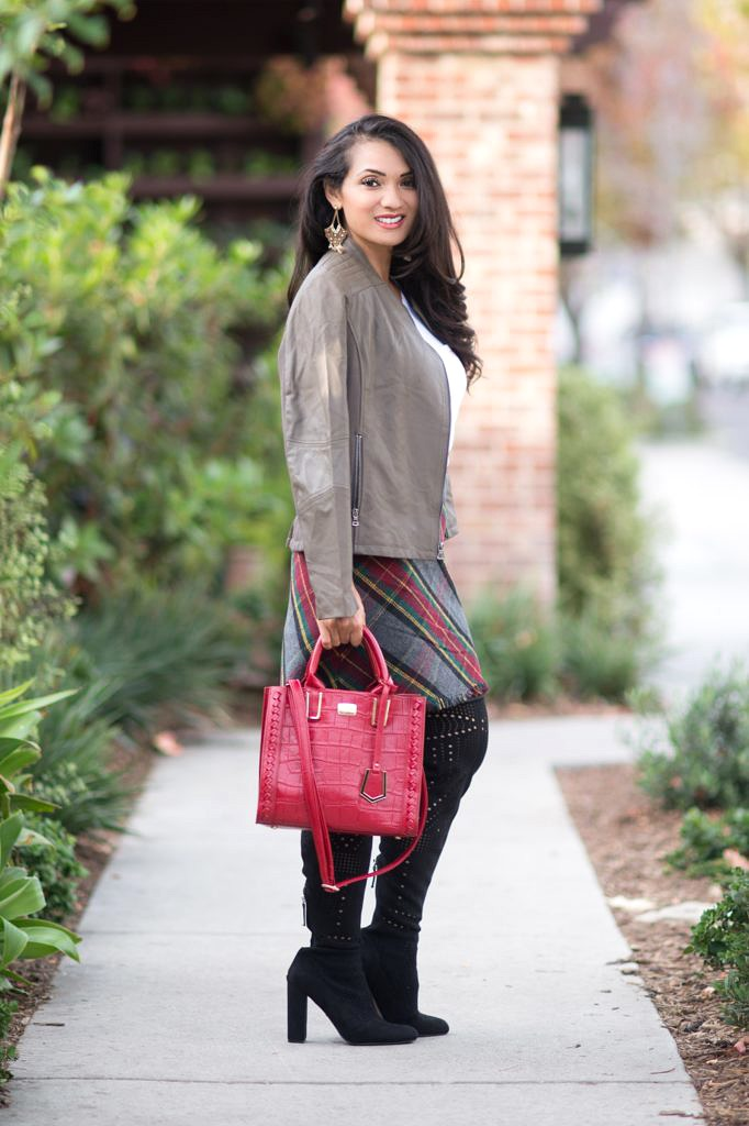 Petite Fashion and Style Blog - Debbie To Thine Own Style Be True - Lark & Ro - Moto Leather Jacket