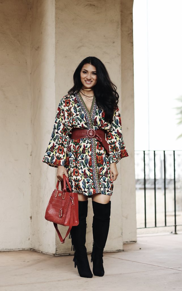Petite and Curvy Fashion and Style Blog | SHEIN Tribal Print Jacket | Croco Print Purse | Black Fringe Boots