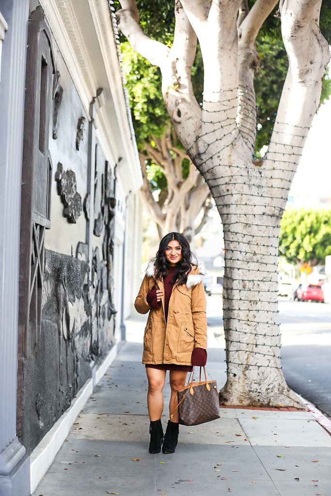 Bell Sleeve Sweater Dress + Faux Fur Anorak Coat
