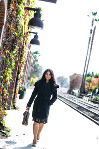 Outfit Inspiration: Belted Wool Wrap Coat + Ruffle Front Lace Dress
