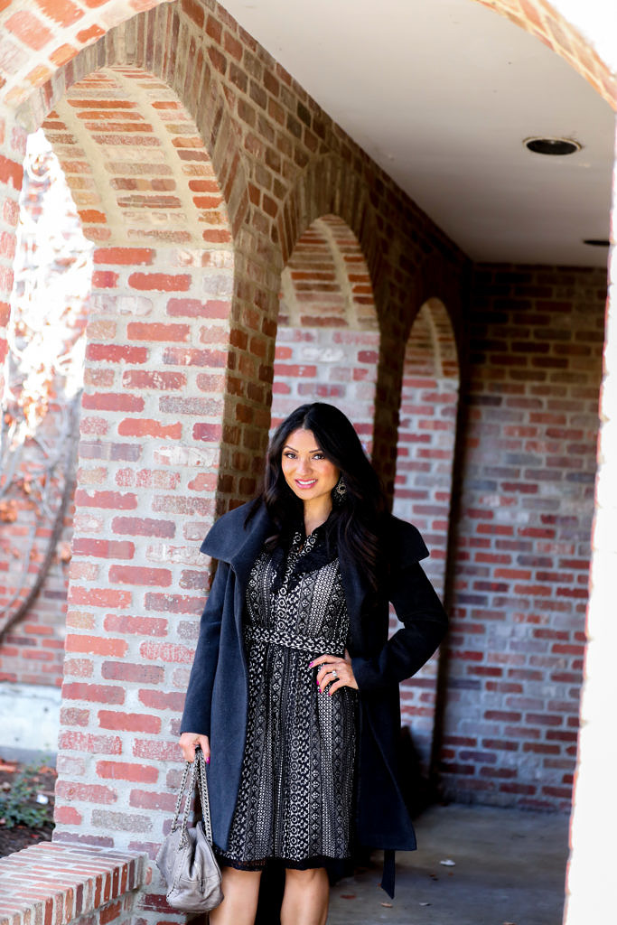 Debbie Savage | Fashion and Lifestyle Blog | Belted Wool Wrap Dress + Ruffle Front Lace Dress