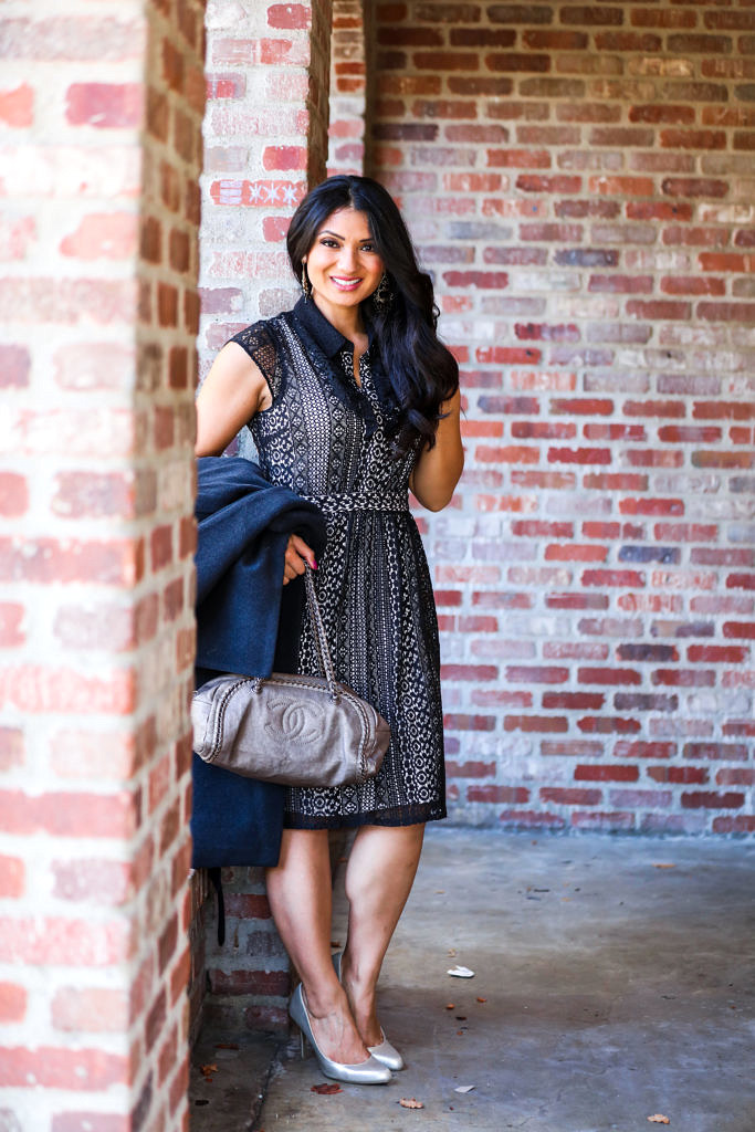 Debbie Savage   Fashion and Lifestyle Blog   Belted Wool Wrap Dress + Ruffle Front Lace Dress