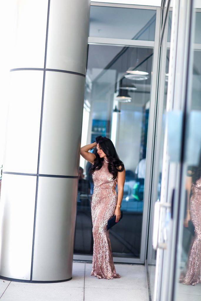 Sequin Maxi Dress. Rose Gold Bodycon Maxi Dress from Pretty Missy. - Sequin Maxi Dress. Rose Gold Bodycon Maxi Dress from Pretty Missy by popular Orange County fashion blogger To Thine Own Style Be True