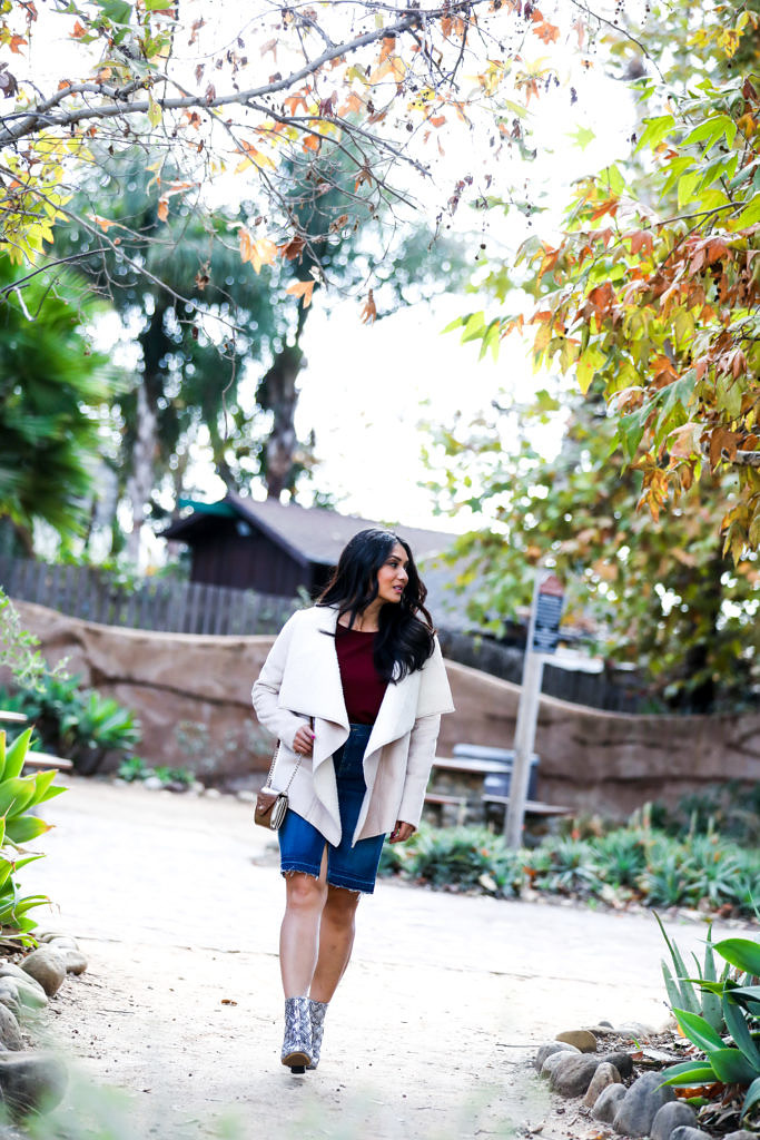 Outfit Inspiration: Faux Shearling Jacket, Ruffled Knit Top & Ankle Booties + $500 Target Giveaway