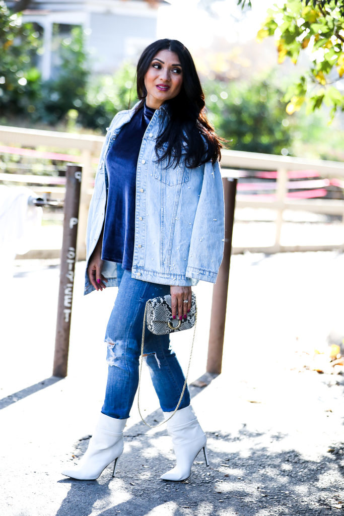 Pearl Denim Jacket: The World Is Your Oyster by popular Orange County fashion blogger To Thine Own Style Be True