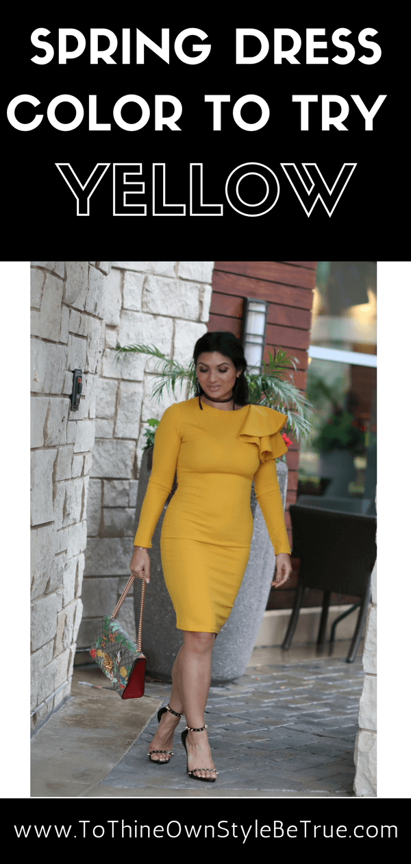Yellow signifies spring and is the perfect choice to celebrate this season's party celebrations with a glamorous dress from SHEIN. Check out this spring yellow dress that is only $19 and is available in red, blue and burgundy. Click now to see more of this stylish spring inspired look!