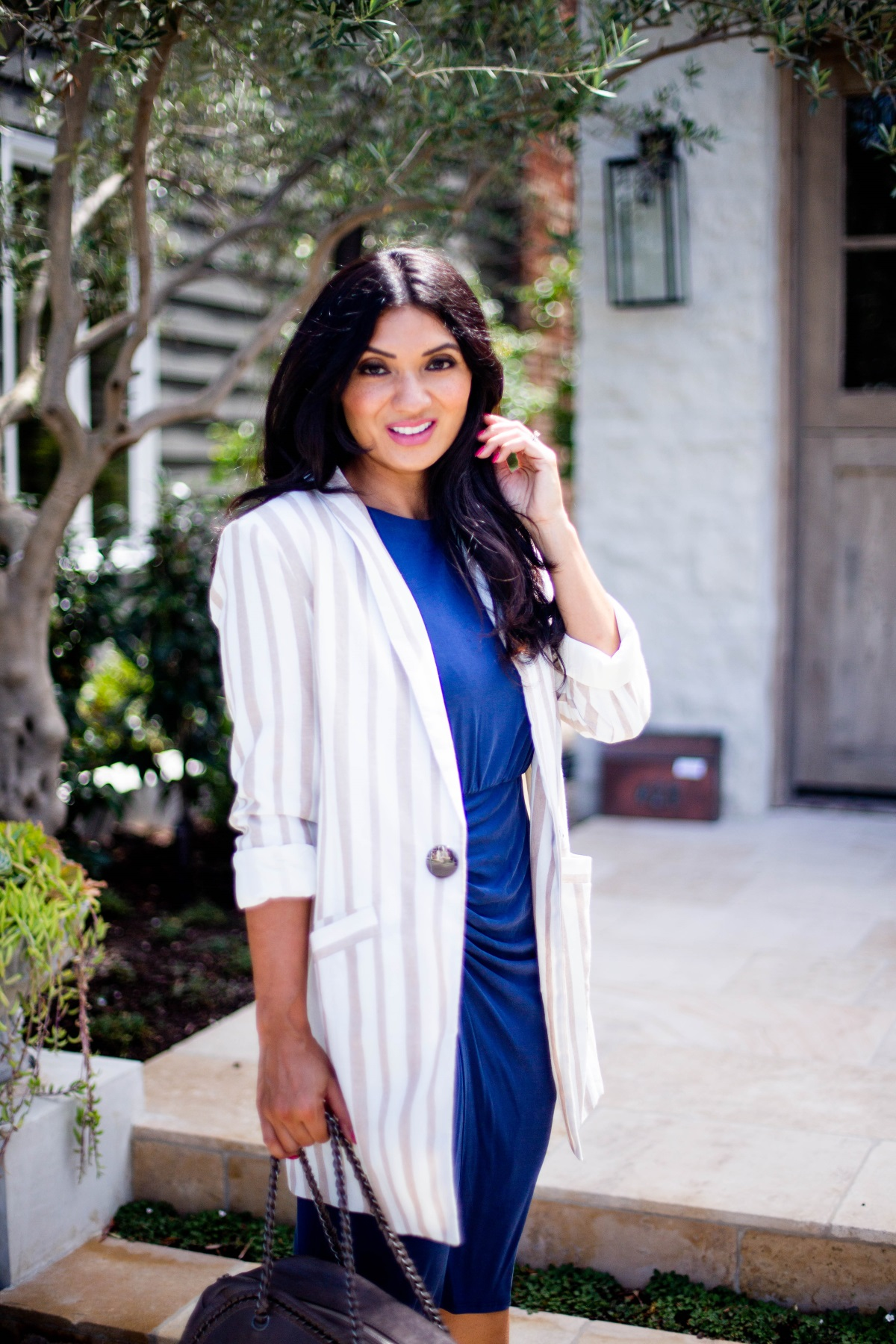Why Boyfriend Blazers / Long Blazers Are Amazing | Chriselle Lim x JOA Tan Striped Blazer | Debbie Savage Orange County Fashion Blogger of To Thine Own Style Be True