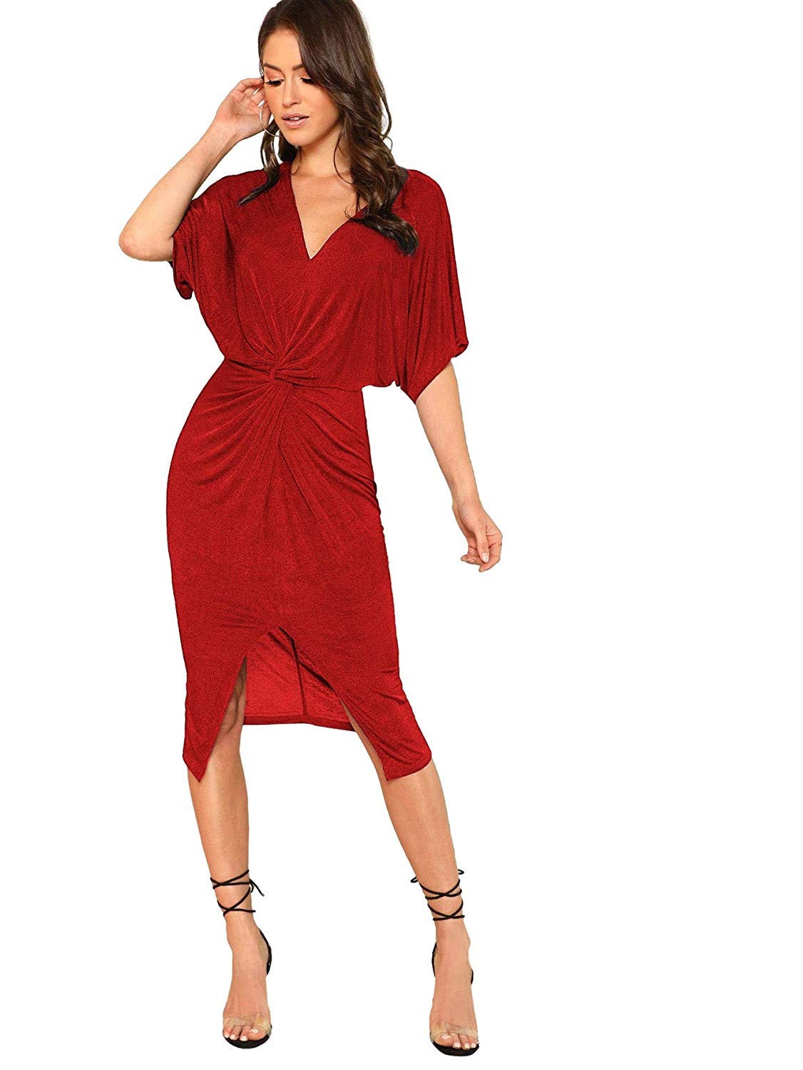 Amazon Prime Day: Floerns Women's Short Sleeve V-Neck Twist Front Split Midi Dress