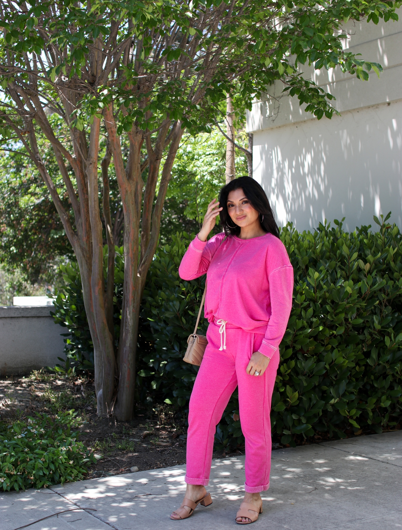 Adyson Parker Oil-Washed Sweatshirt and Sweatpants - Pink Flamingo