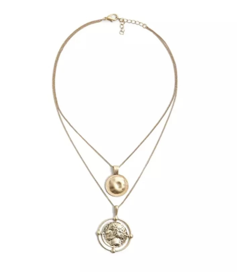 Bel Viso Layered Necklace | Layered Necklace with Round Pendants | The Songbird Collection