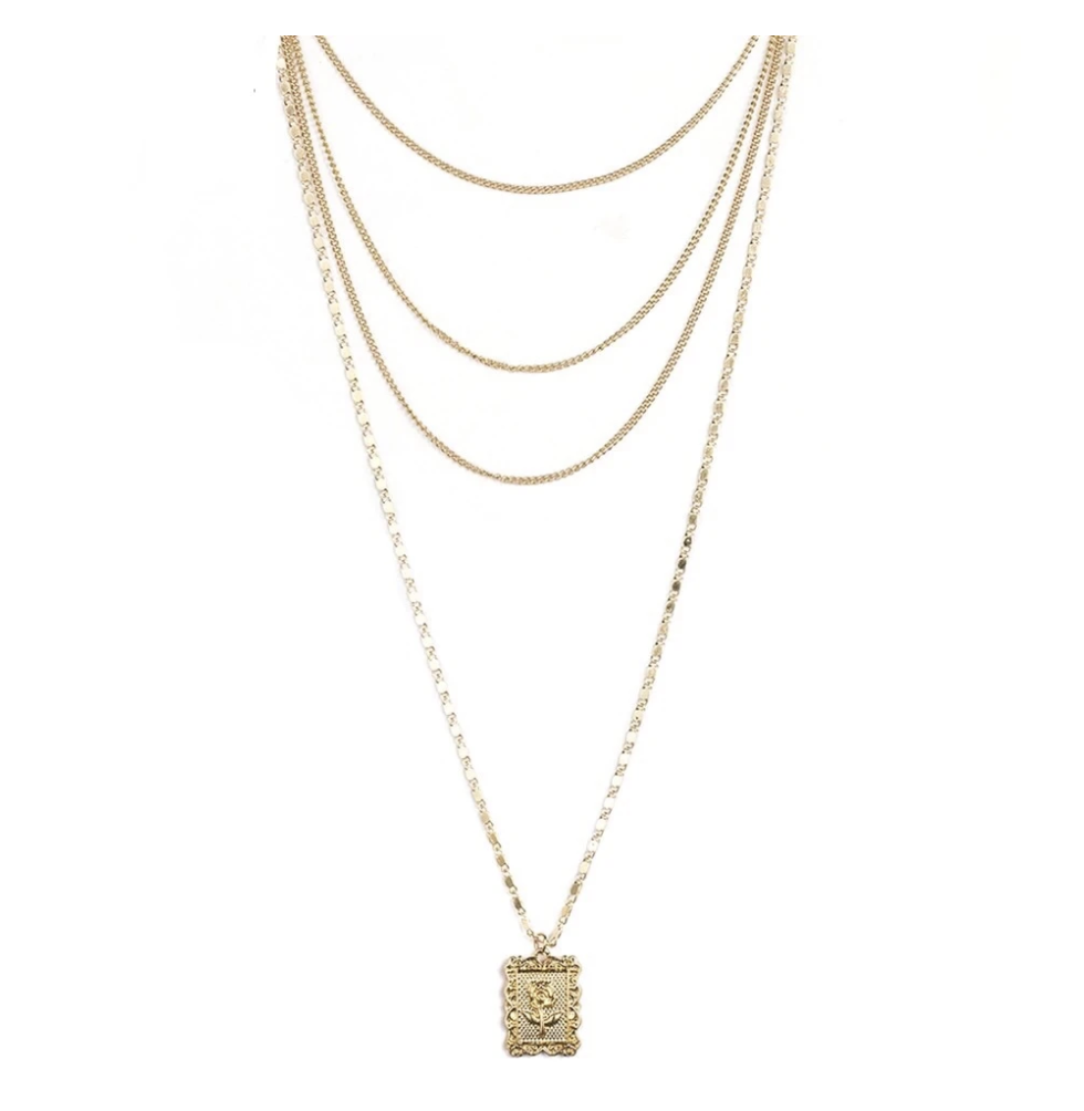 Bella Rose Layered Necklace | Cascading Chains with Rose Pendant | The Songbird Collection