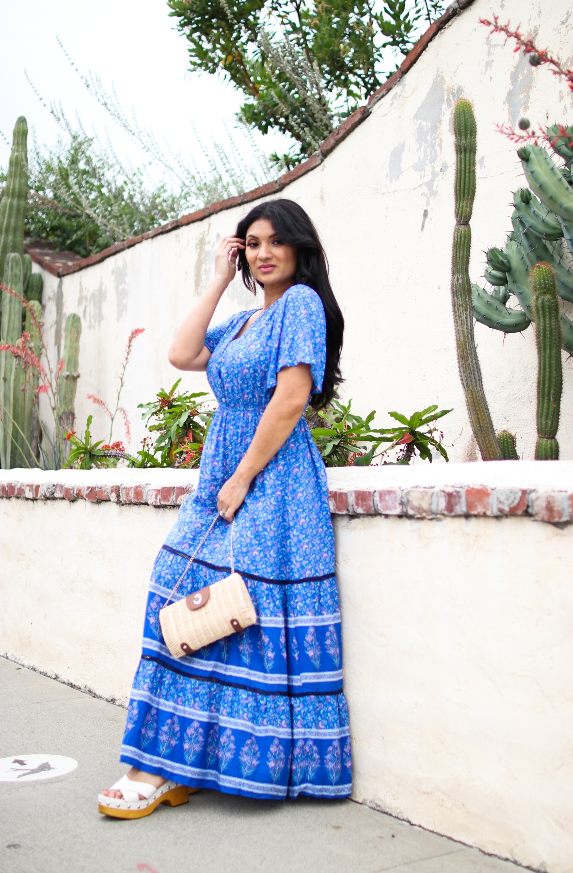 Shein Blue Floral Maxi Dress