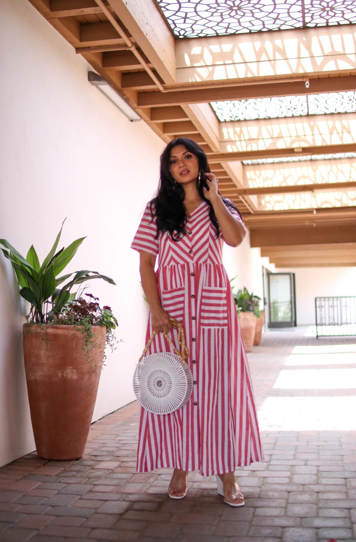 Shein Red White Stripe Smock Maxi Dress