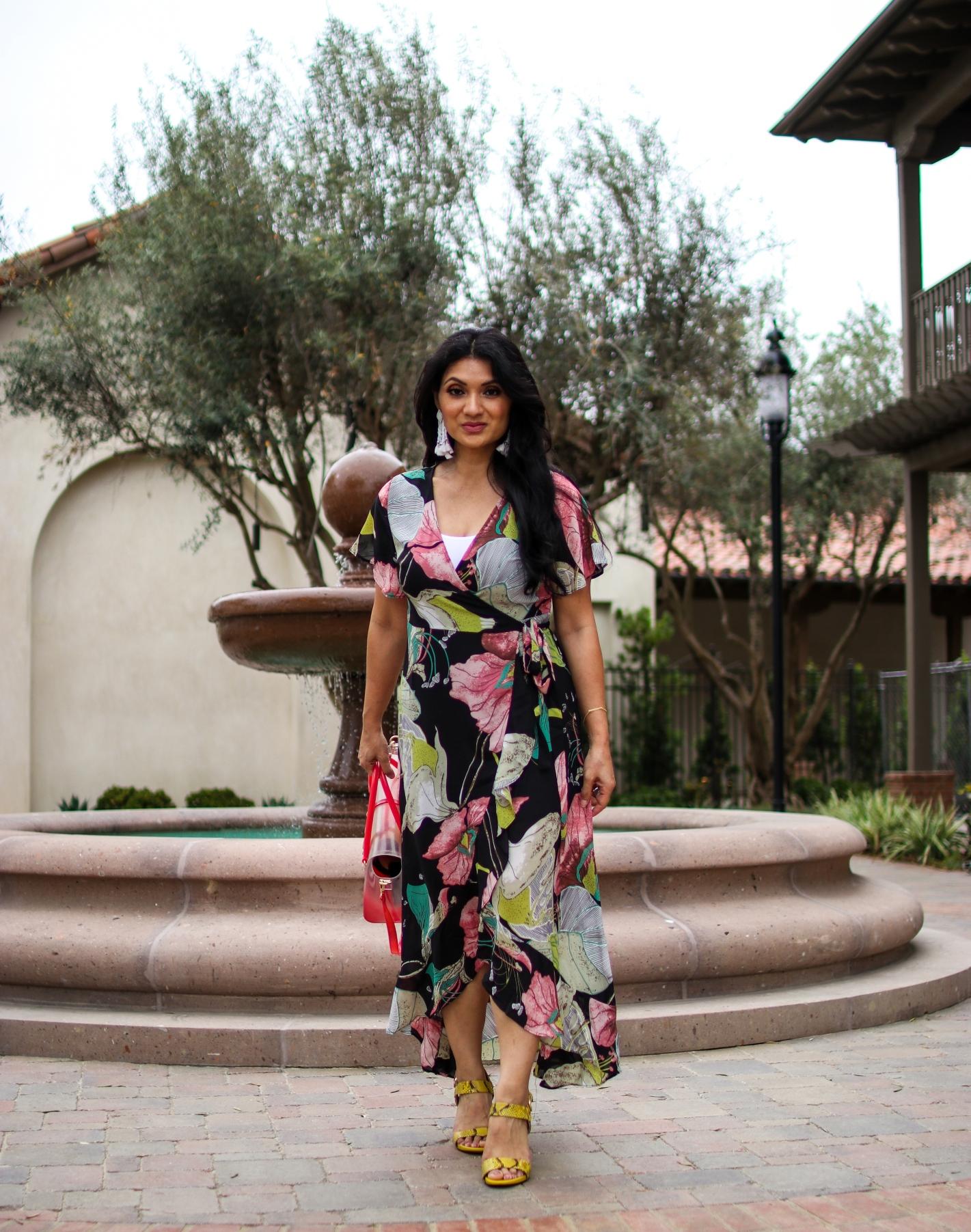 Shein Floral Wrap Maxi Dress