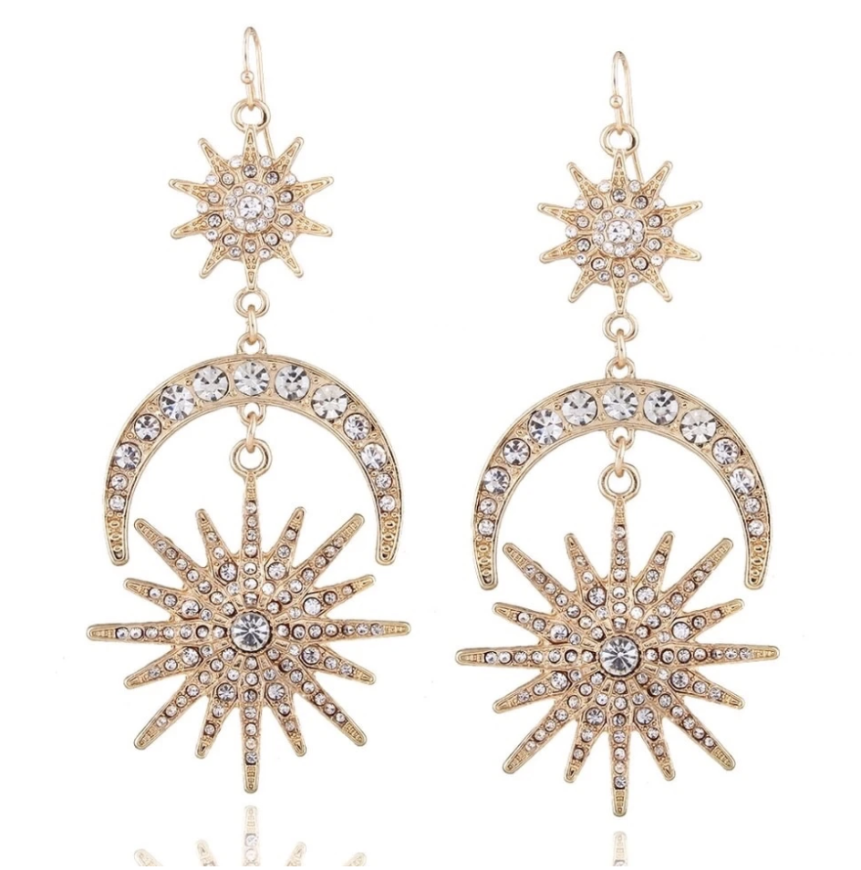 Sun Star and Moon Earrings | Sparkling Stellar Twinkle | The Songbird Collection