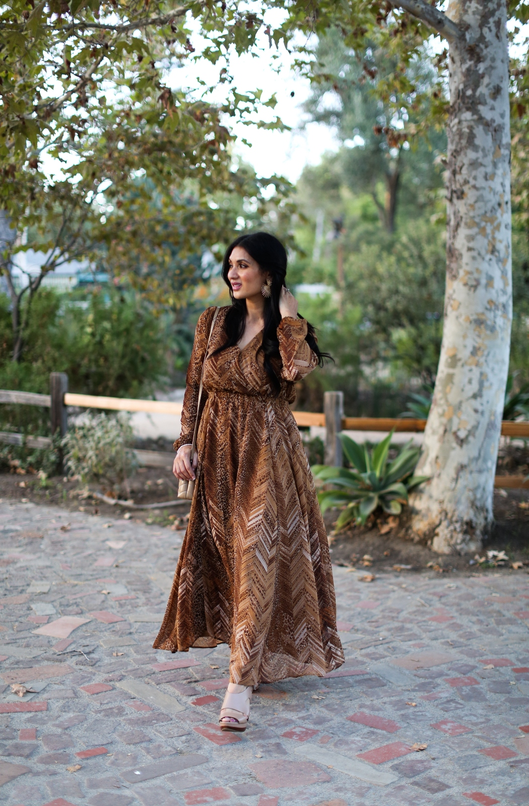 Debbie Savage Orange County California Fashion Blogger Adyson Parker V-Neck Long Sleeve Print Dress Brown Dresses for Fall