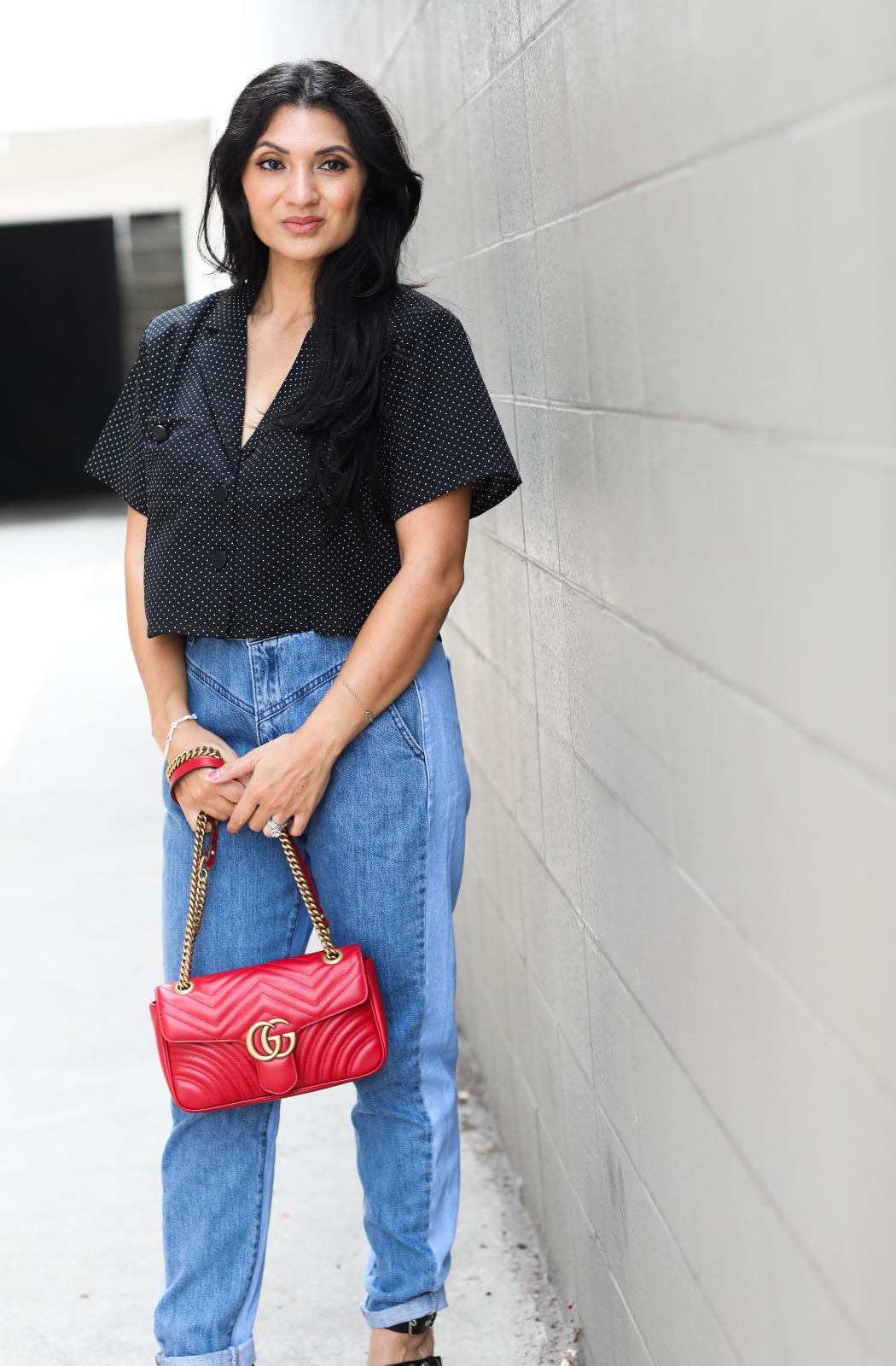 Debbie Savage Orange County California Fashion Blogger Nasty Gal Opposites Attract Two-Tone Mom Jeans