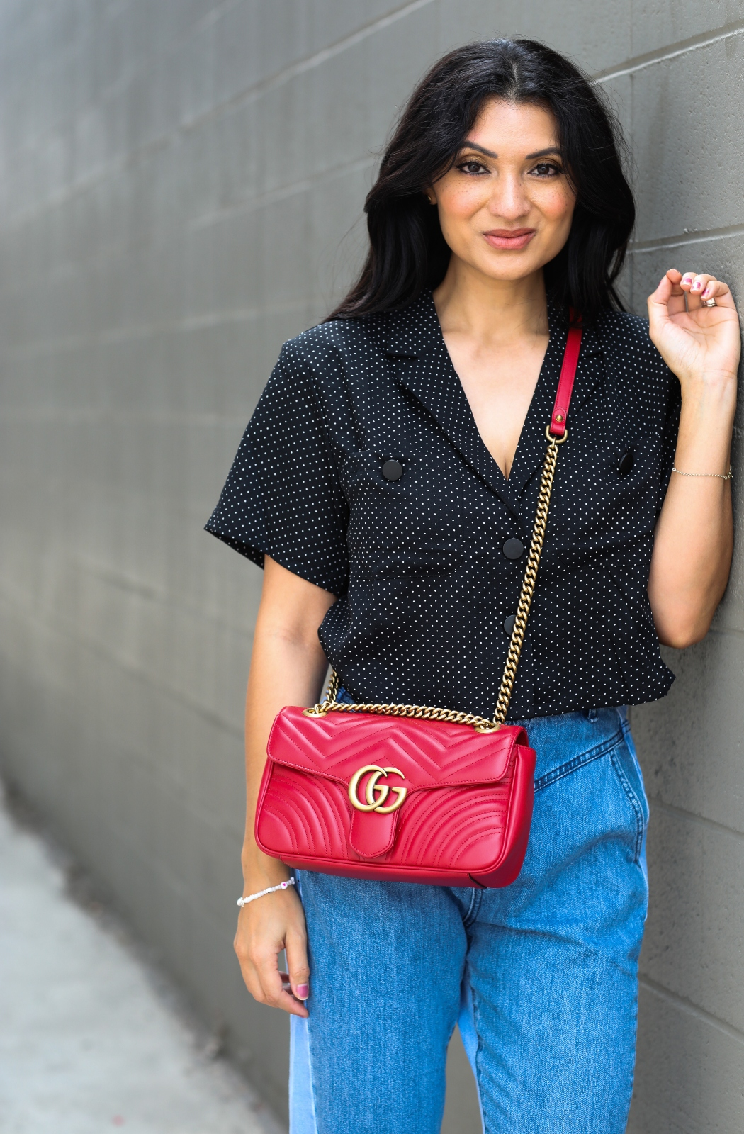 Debbie Savage Orange County California Fashion Blogger Calfskin Matelasse Small GG Marmont Shoulder Bag Hibiscus Red