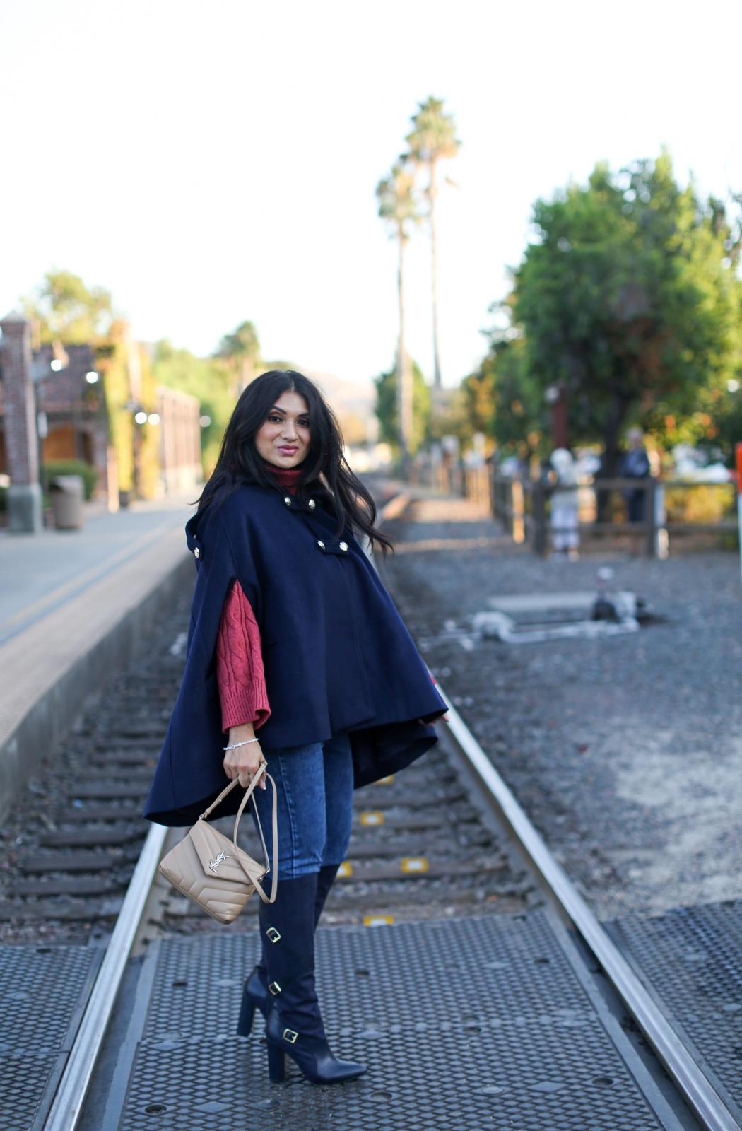 Debbie Savage Orange County California Fashion Blogger Custom Made Hooded Wool Cape Coat
