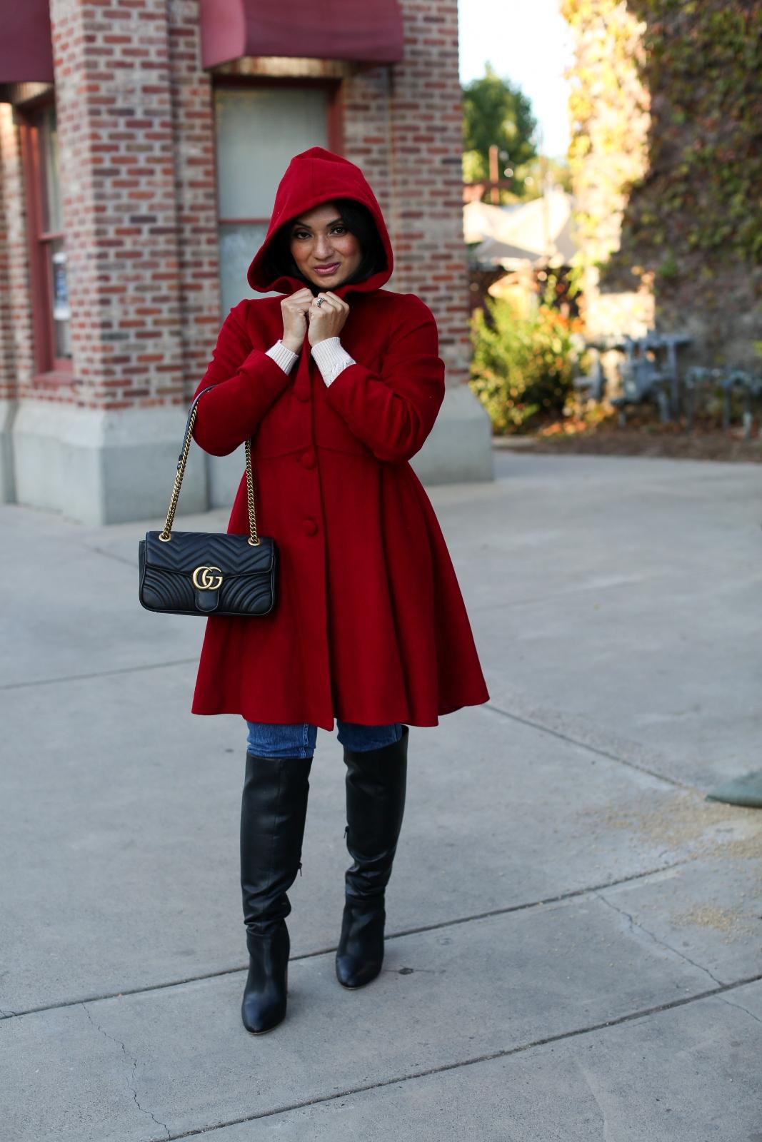 Debbie Savage Orange County California Fashion Blogger Custom Made Hooded Wool Swing Coat