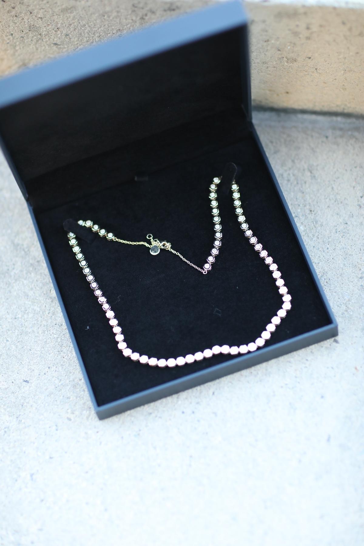 Natori x Angara Hexagonal Bezel-Set Diamond Tennis Necklace