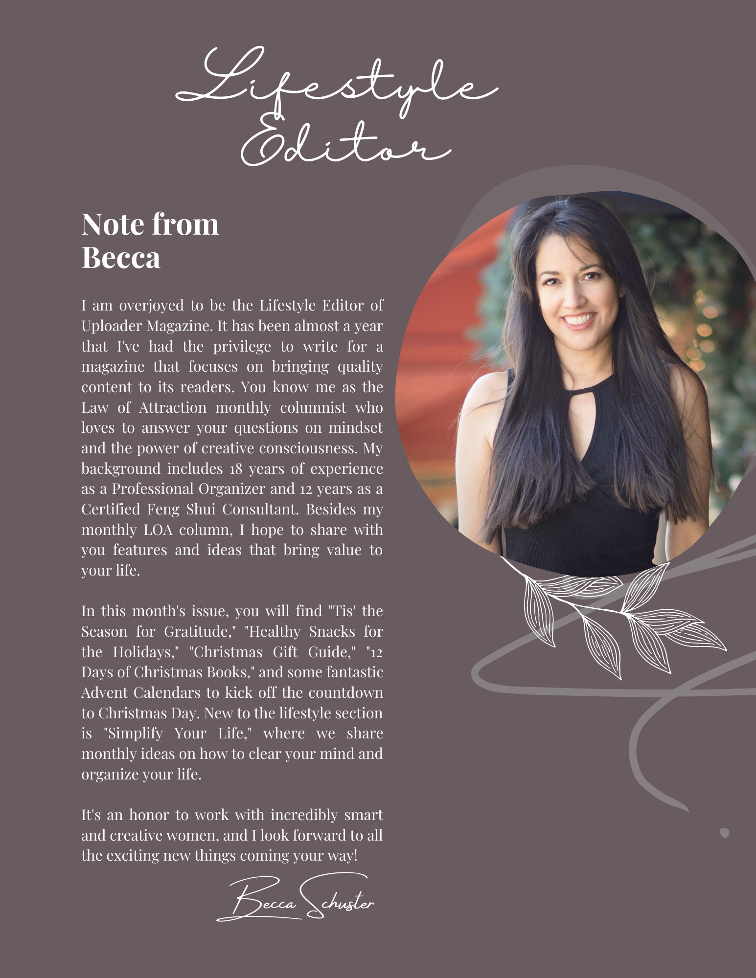 Uploader Magazine Note from Becca Schuster - Lifestyle Editor