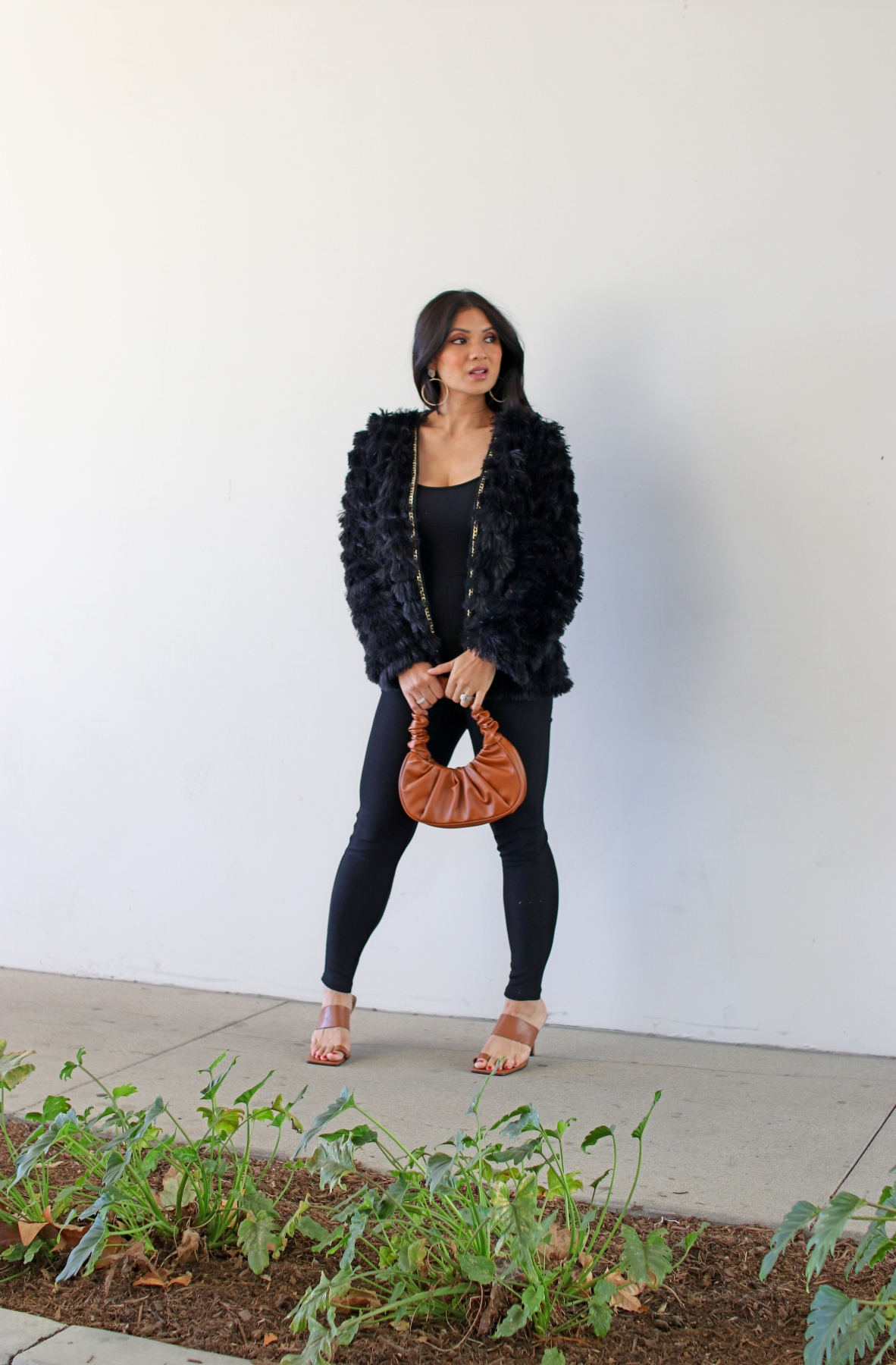 Trends to Try: Shaggy Faux Fur Jacket + Black Jumpsuit