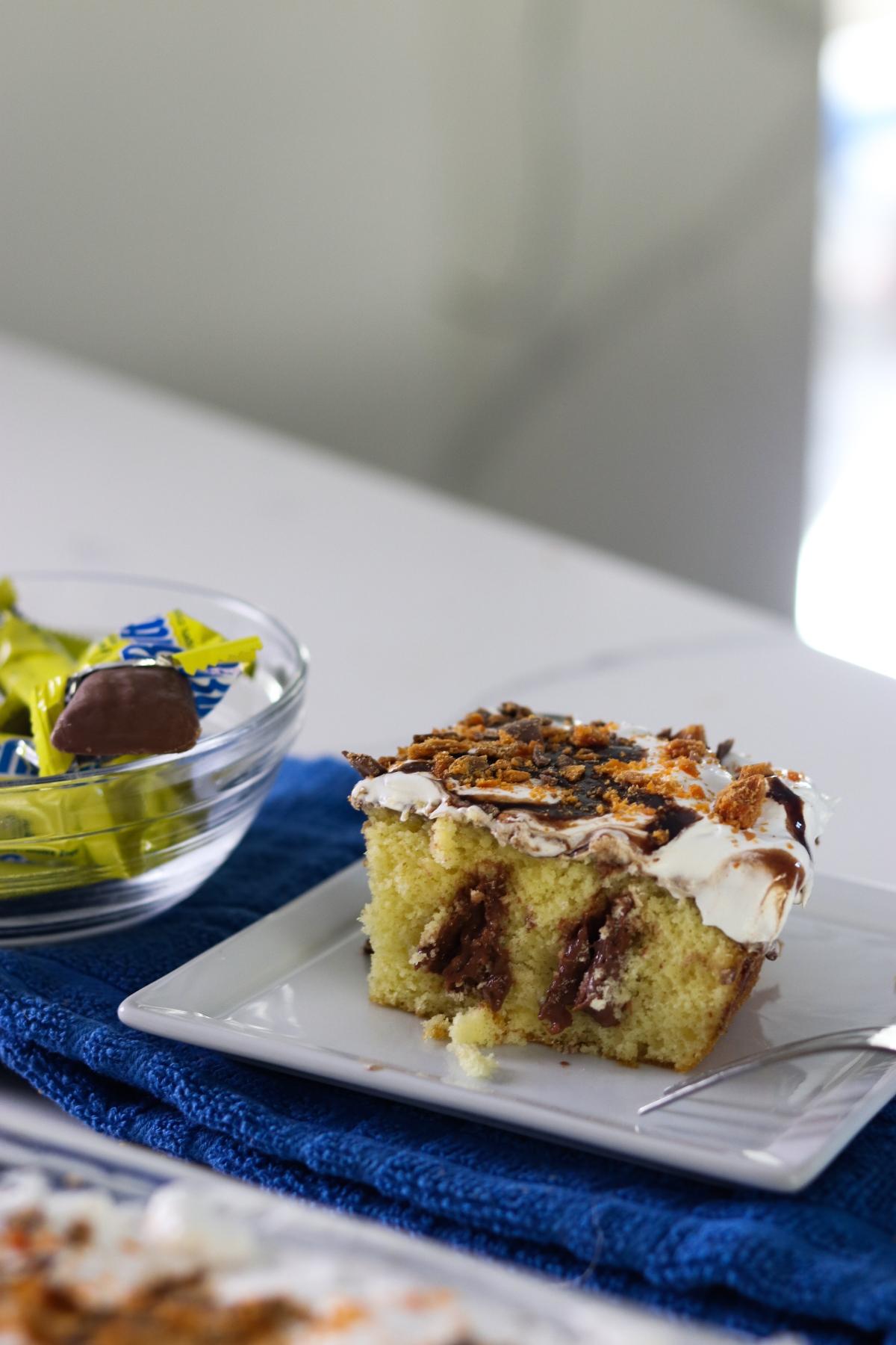 Easy Butterfinger Poke Cake