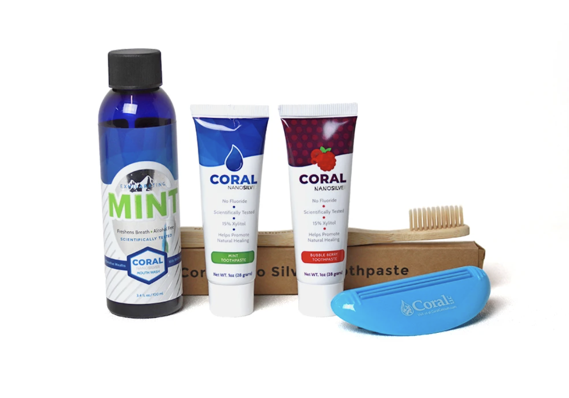 Coral Nano Silver Travel Bundle with Toothbrush
