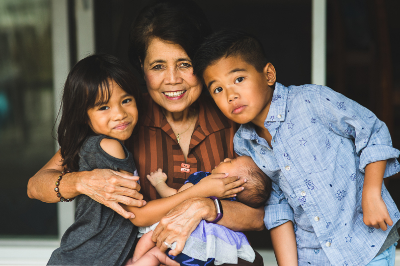 Portrait of Asian Elderly Woman with Children